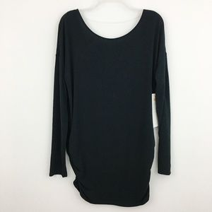 NWT Lucy Black Ruched Yoga Tunic Top Long Sleeve